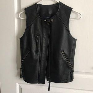 Madewell Black Moto Leather Racer Vest Jacket
